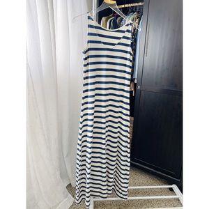 Garnet Hill Striped Sleeveless Maxi Dress